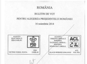 Buletin de vot 2014 Prezidentiale